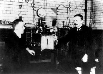 Hans Geiger and Ernest Rutherford with apparatus for counting alpha particles, Manchester, 1912 Permission: www.corbis.com