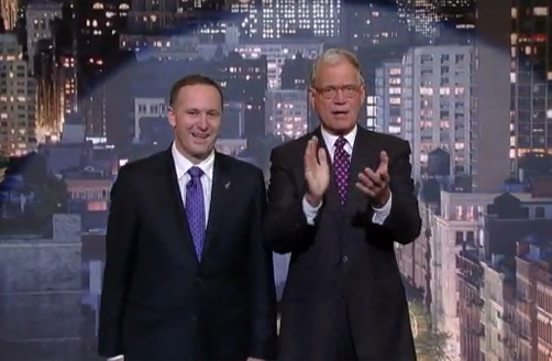 John Key on The Late Show