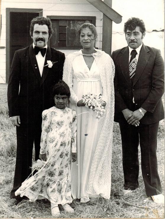 Kaylene as our flowergirl Waiohiki Marae 15 May 1976