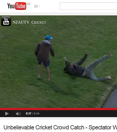New Zealand Cricket Fan Wins Fame with One-Handed Catch