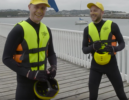 Jono and Ben ride a Banana Boat across the Cook Strait