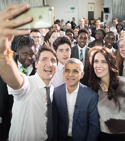 Ardern Joins Khan, Trudeau and Young Fans in London