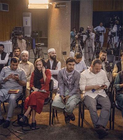 Journalist Charlotte Bellis Questions Taliban
