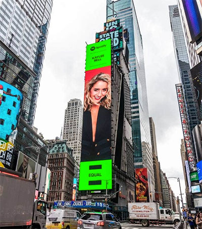 Musician Kaylee Bell Lights up Times Square